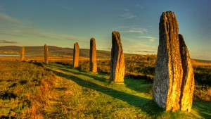Six of the standing stones at Ring of Brodgar Orkney Isles photographed in evening light